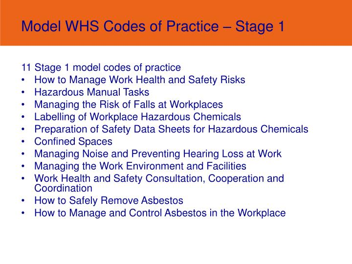 1 an example of health and safety code of practice