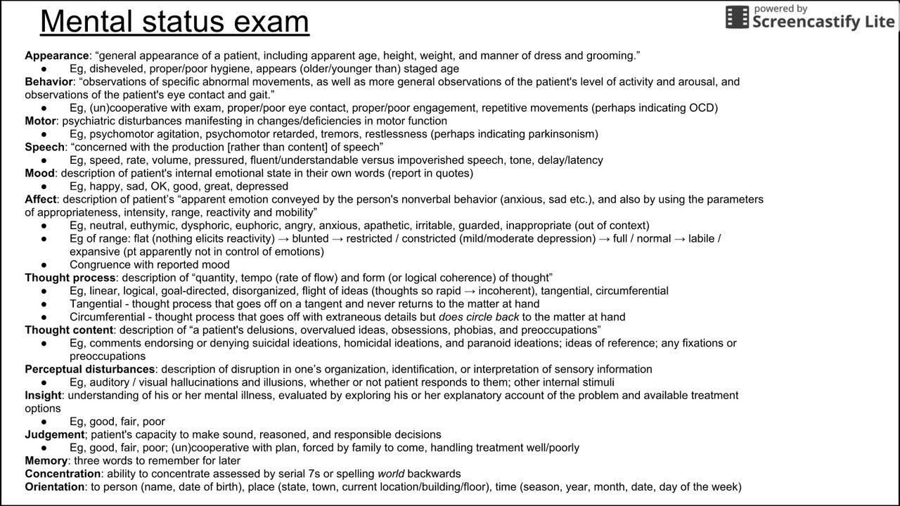 mental state examination example schizophrenia