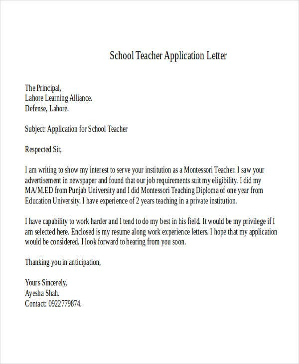 example of application letter for teacher pdf