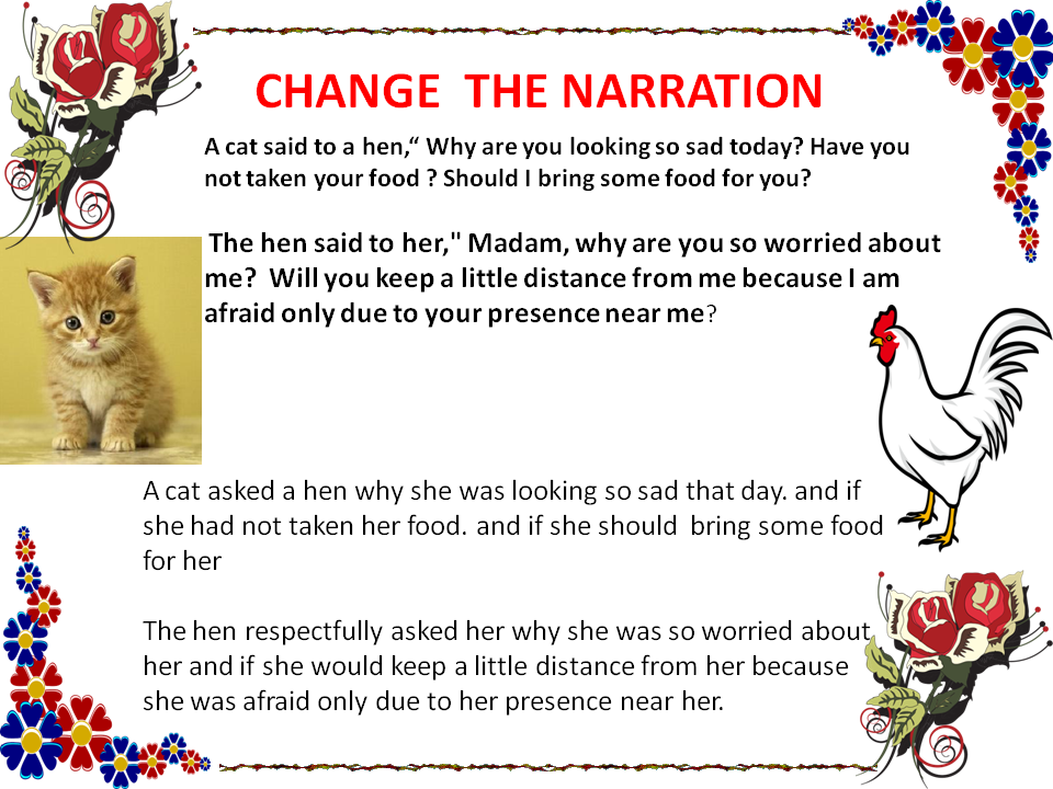 which of the following is an example of narration