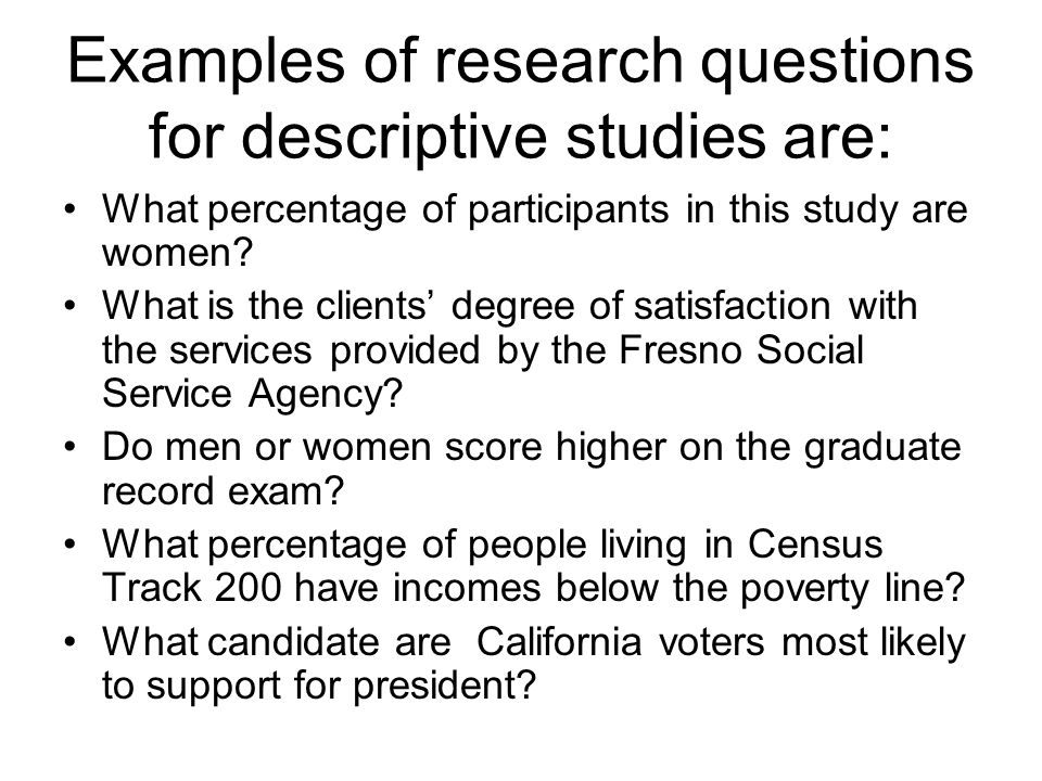 what is an example of a descriptive research question