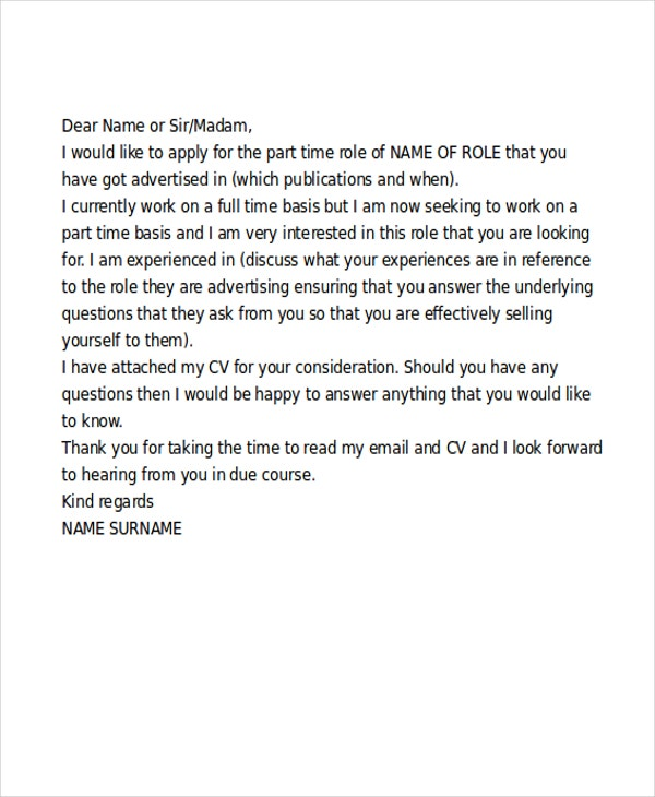 part time cover letter example