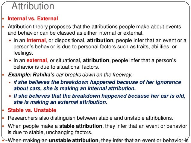 covariation model of attribution example
