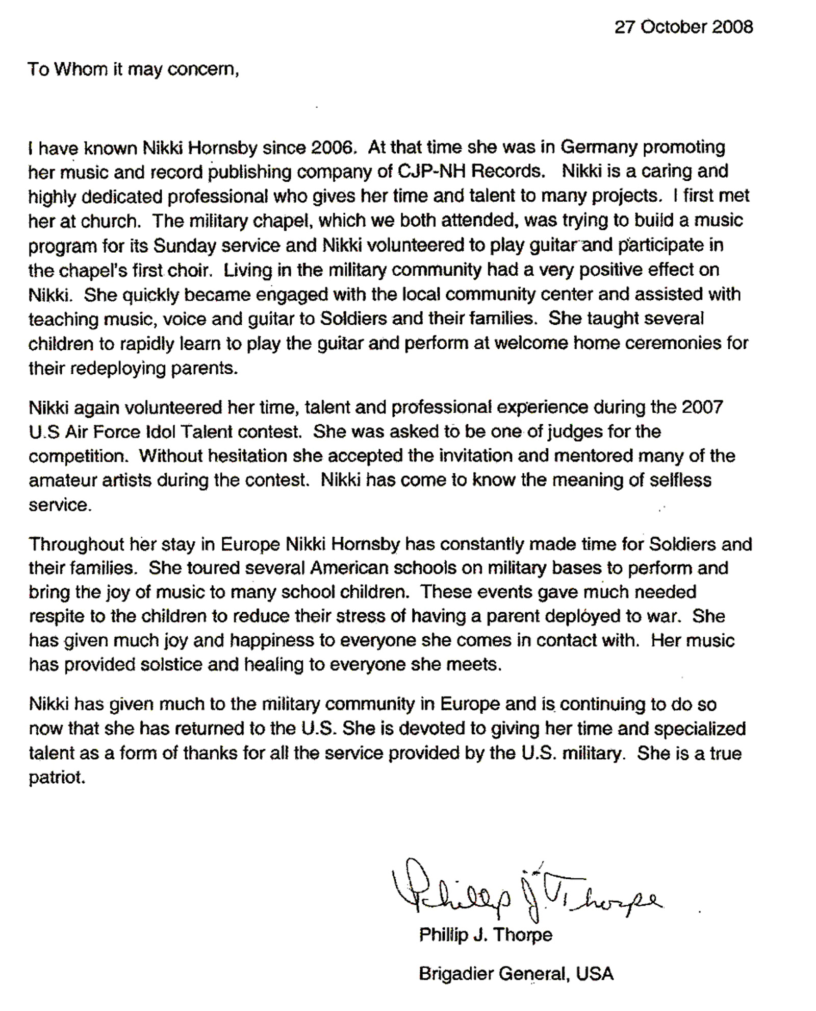 example of character reference letter for military
