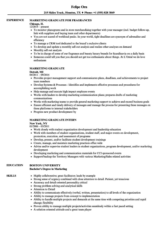 business management graduate program resume example