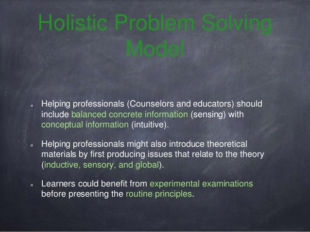 example of holistic problem solving