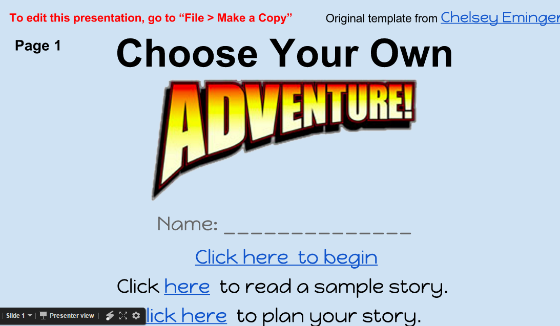 choose your own adventure example
