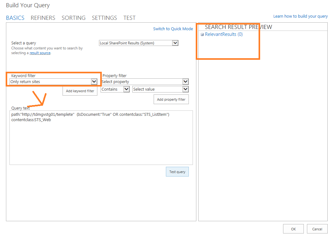 keyword query language sharepoint 2013 example