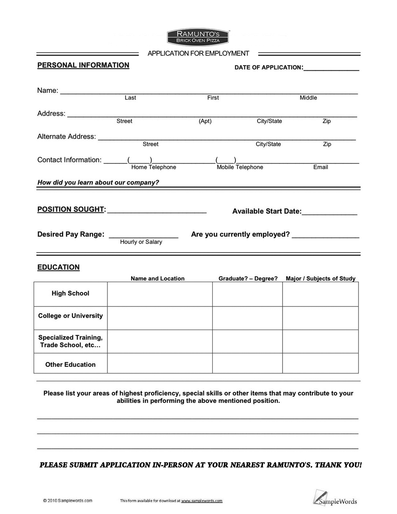 example of the application form
