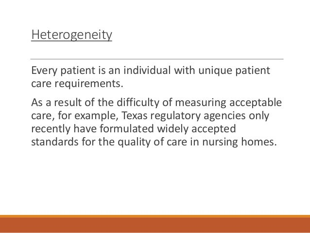 heterogeneity example in related to hospitality