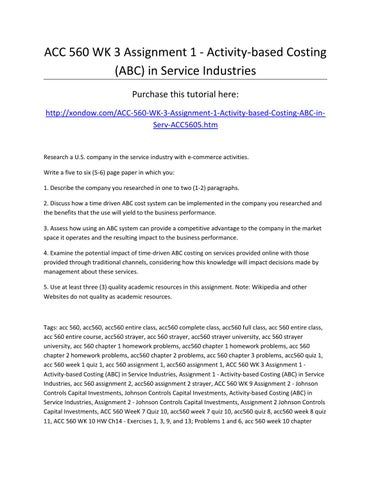activity based costing in service industry example