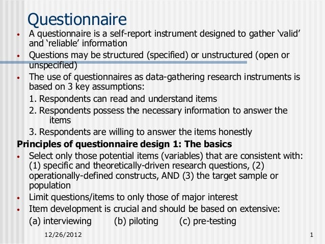 example of self report questionnaire