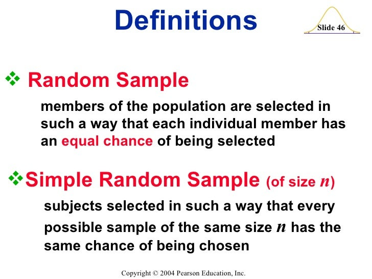 example of simple random sampling in statistics