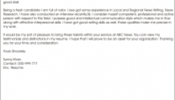 news reporter cover letter example