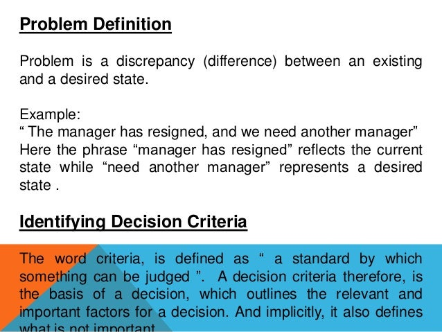 example of decision making process in business