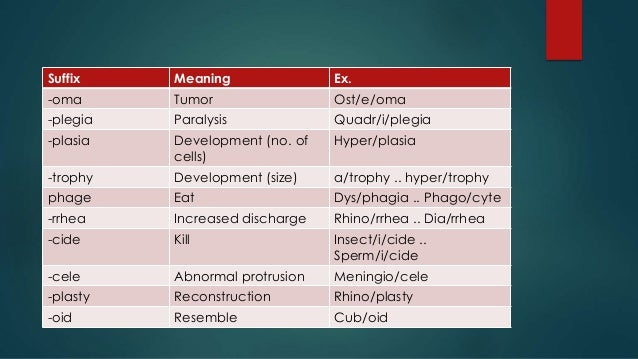 pre meaning in medical term example
