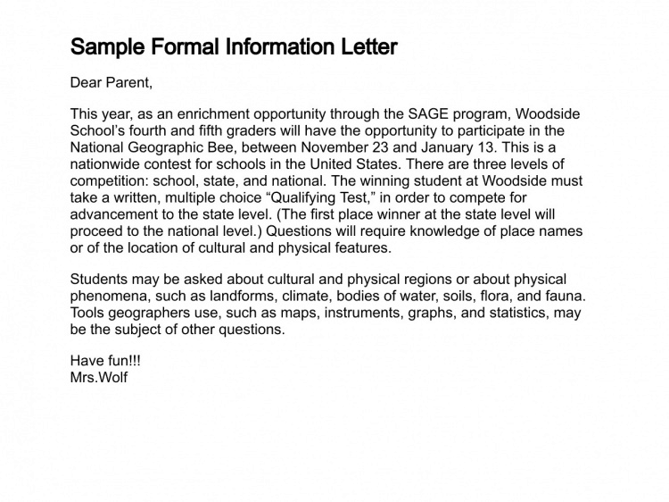 how to write informative email example