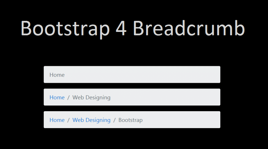 breadcrumb navigation example in html