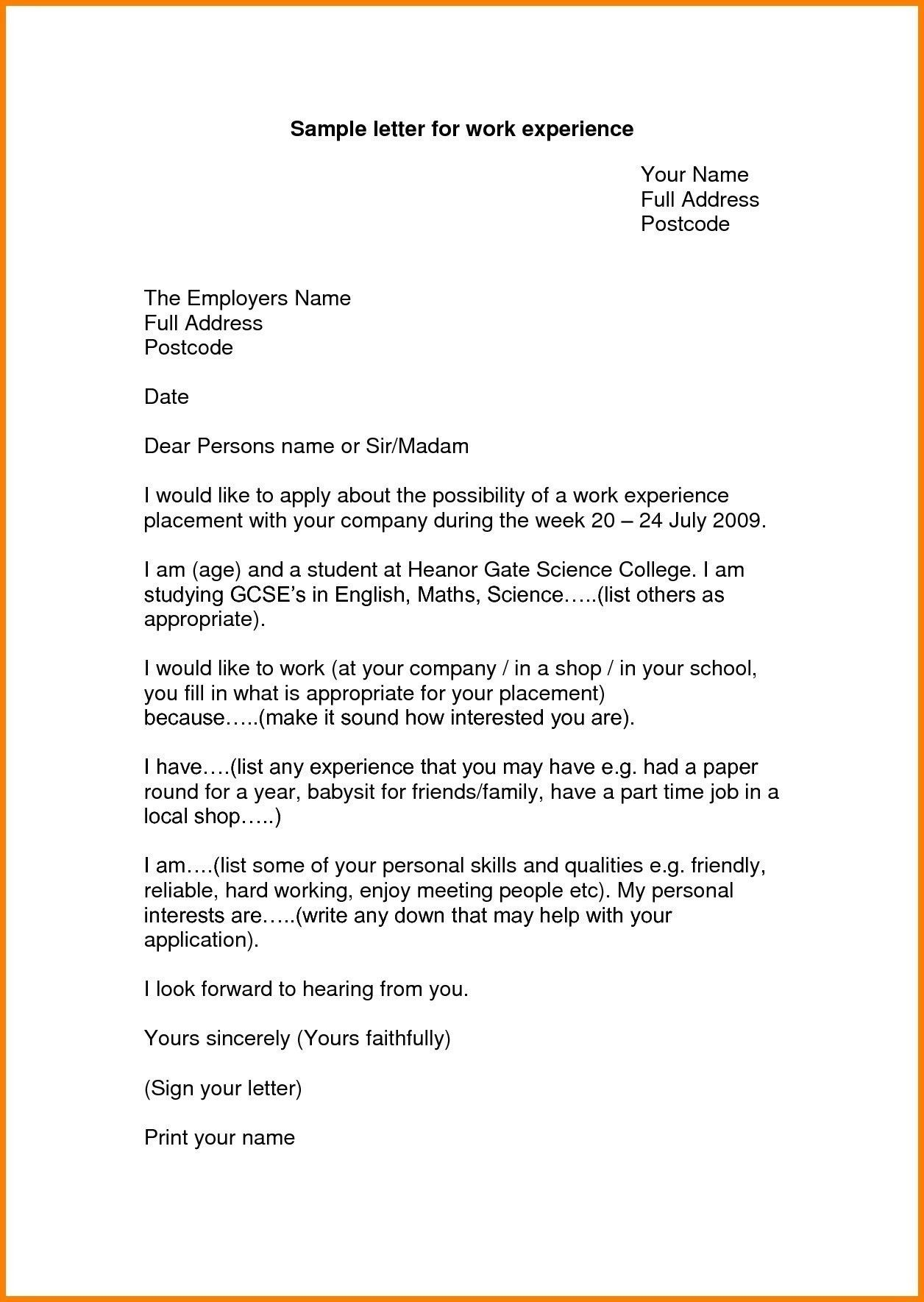 example letter for application for it work experience