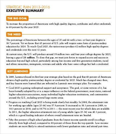 statement of advice executive summary example