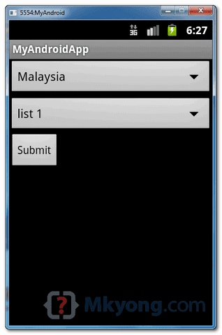android drop down list xml example