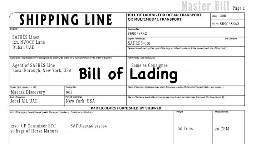 bill of lading definition example