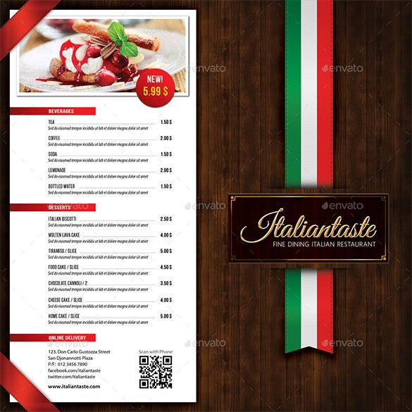 example of menu card in a restaurant with price