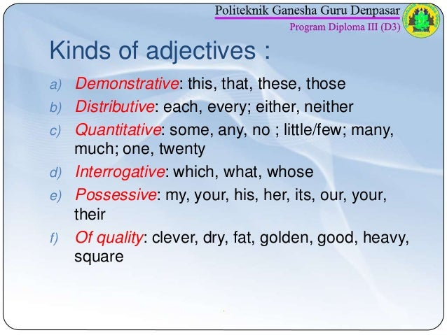 adjective and its kinds with example