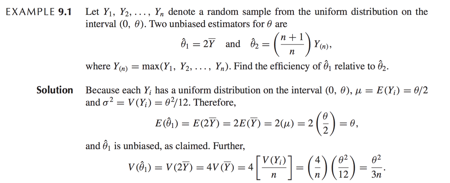 variance of an estimator example