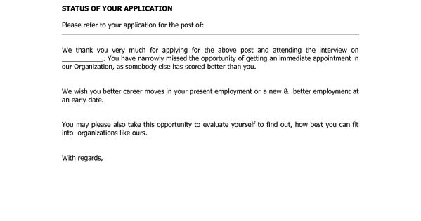 how to write a job rejection letter example