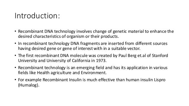 example of recombinant dna technology in agriculture