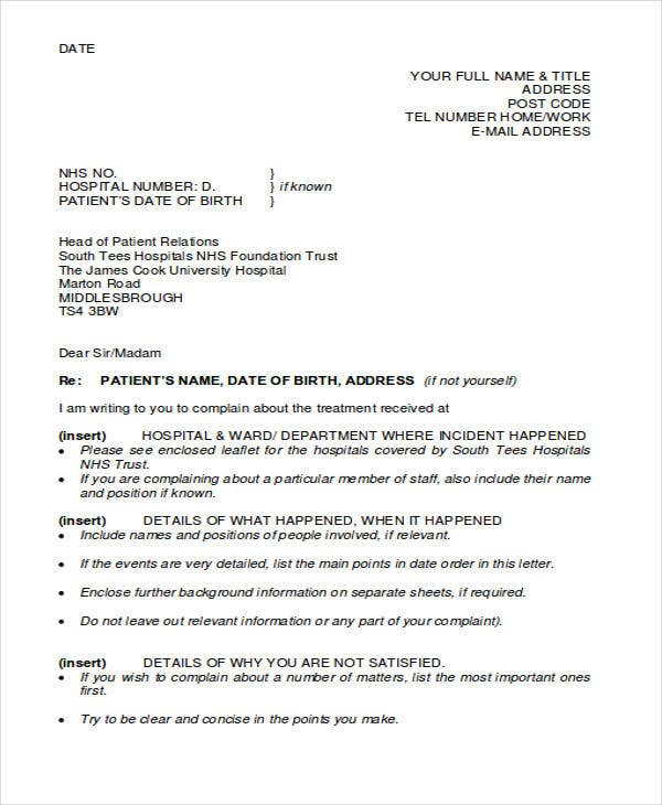 complaint letter example for bad product pdf