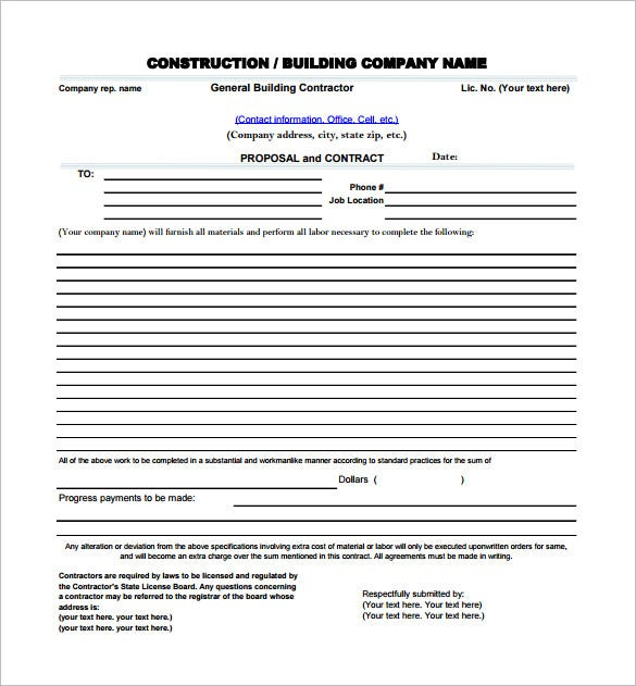construction project management proposal example