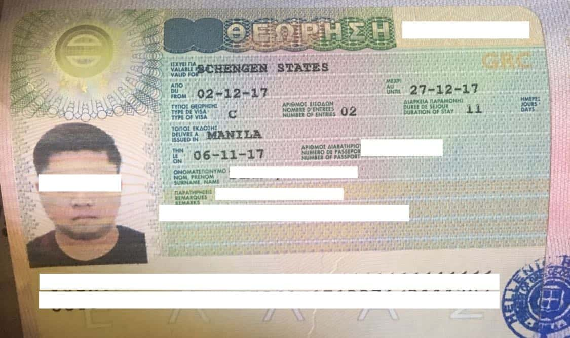 consulate of greece visa application number example