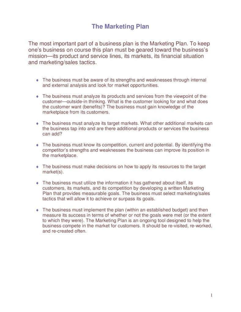 example of a marketing plan paper