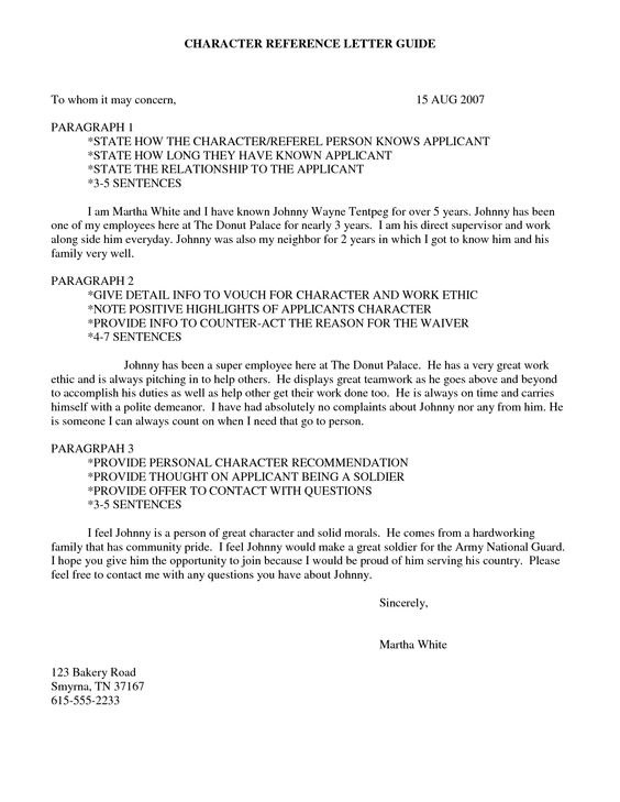 example of character reference letter for us waiver