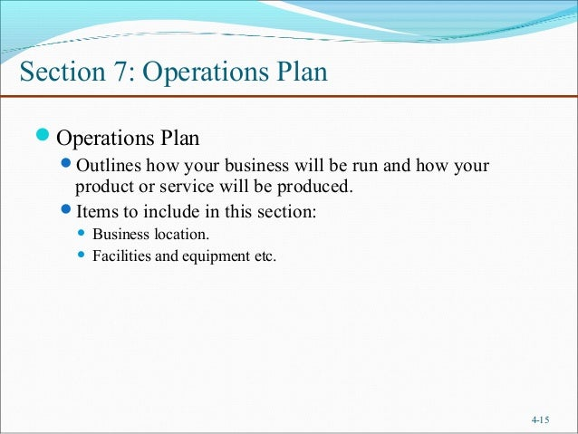 example of operation and management plan in business plan