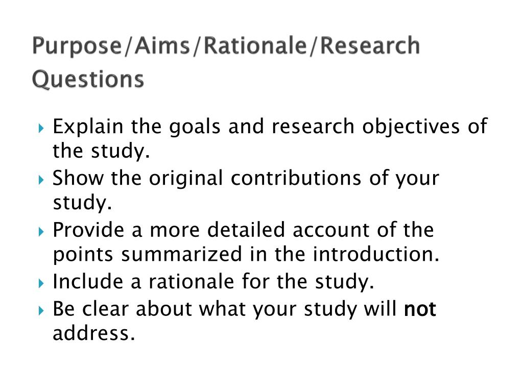 example of rationale of the study in research