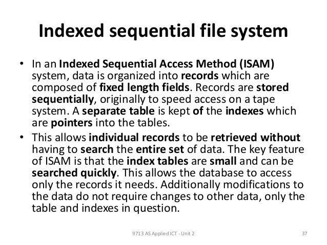 indexed sequential file organization example