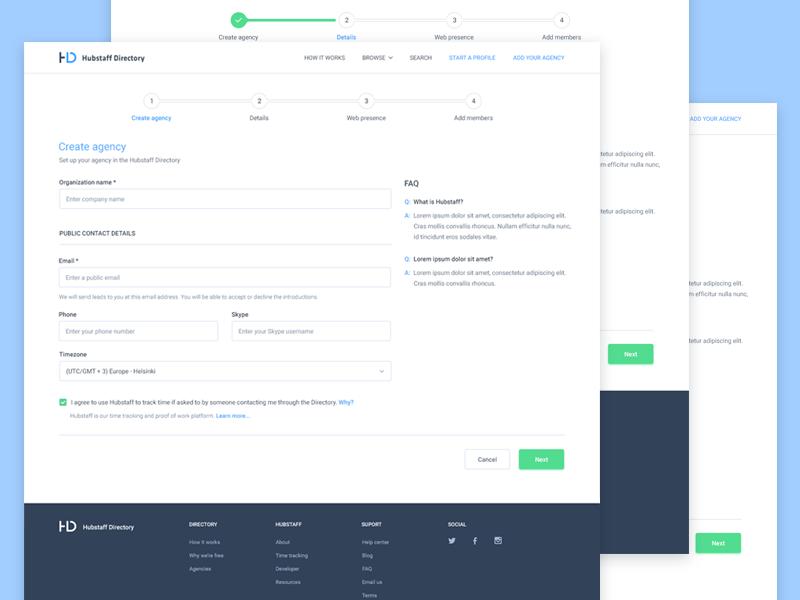 job agencies user interface example