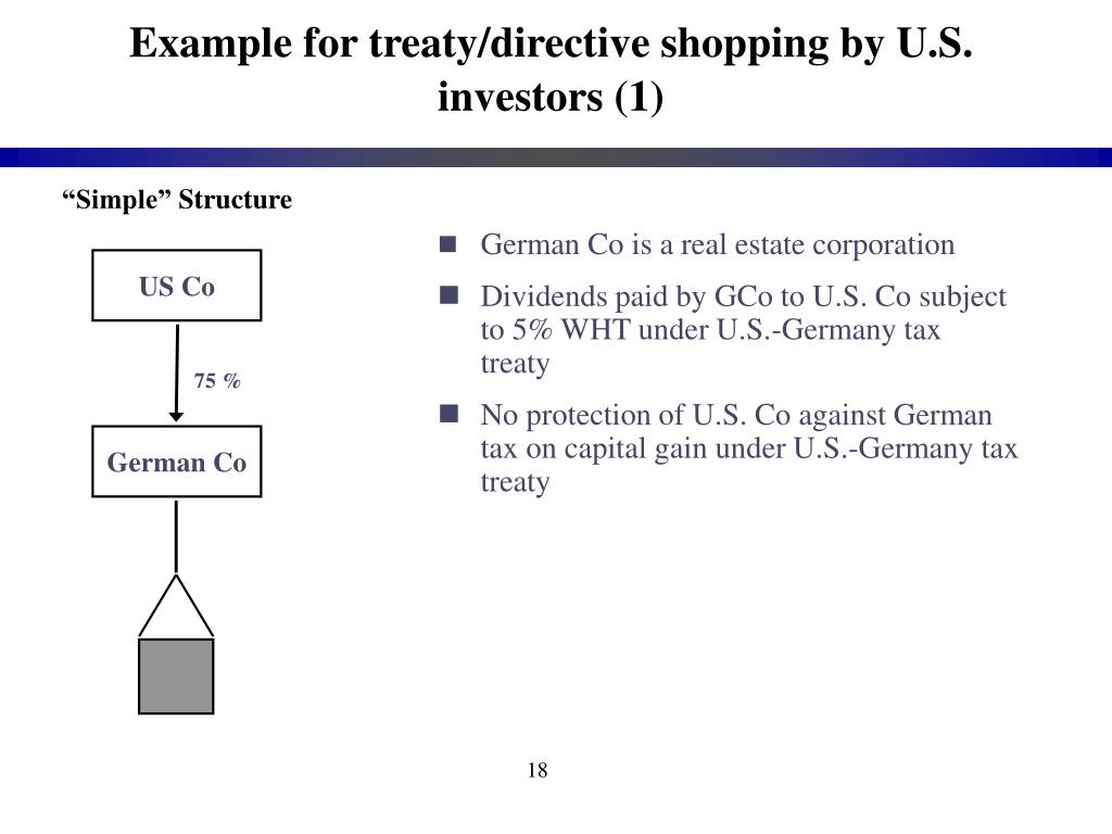 treaty shopping meaning with example