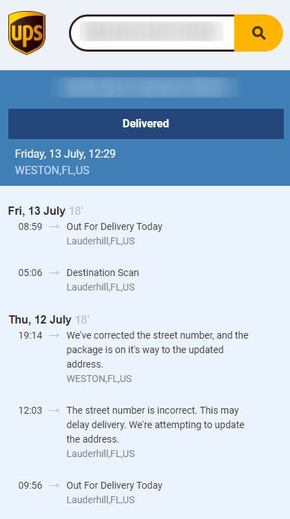 ups international tracking number example
