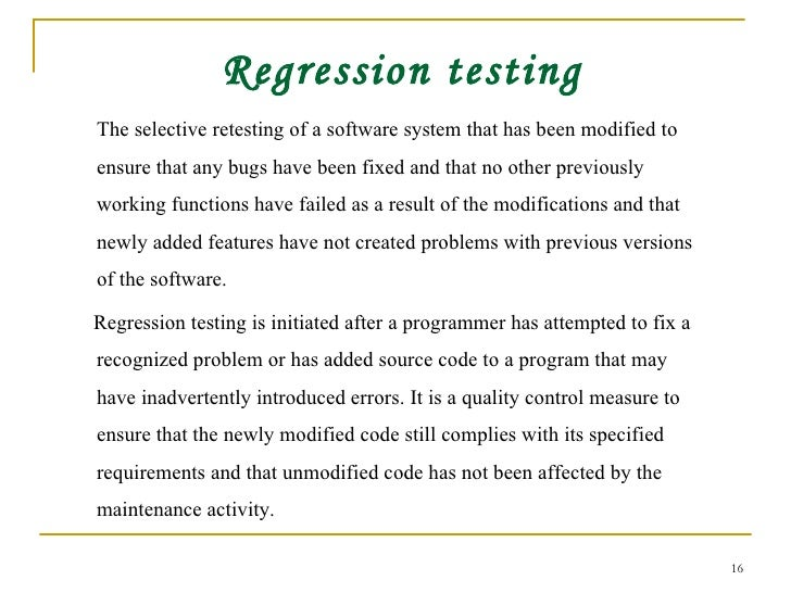what is regression testing with example