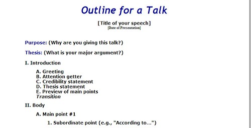 writing a speech outline example